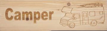 CutterTeam: Massief houten Tekst Bord: Camper (Camper)