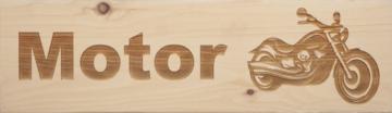 CutterTeam: Massief houten Tekst Bord: Motor (Motor)