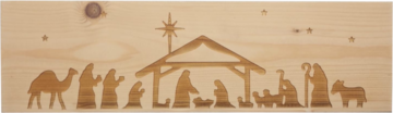 CutterTeam: Massief houten Tekst Bord: (Kerststal)