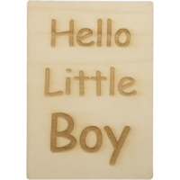 CutterTeam: Houten Kaart A6: Hello Little Boy