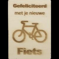 CutterTeam: Houten Kaart A6: Gefeliciteerd met je nieuwe fiets (Fiets)