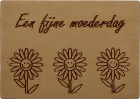 MemoryGift: Houten Kaart A6: Een fijne moederdag (Zonnebloemen)