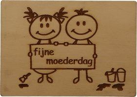 MemoryGift: Houten Kaart A6: Fijne moederdag (kinderen)