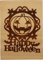 MemoryGift: Houten Kaart A6: Happy Halloween (grote pompoen)