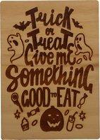 MemoryGift: Houten Kaart A6: Trick or Treat Give Me Something Good to Eat (spoken en pompoen)