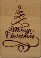 MemoryGift: Houten Kaart A6: Merry Christmas (slingerboom)