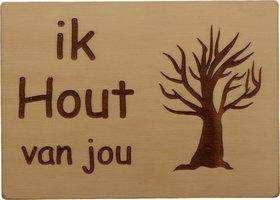 MemoryGift: Houten Kaart A6: Ik hout van jou (Kale boom)