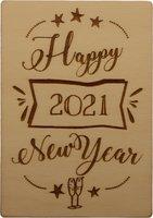 MemoryGift: Houten Kaart A6: Happy 2021 New Year (sterren en champagneglazen)