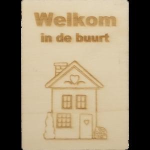 MemoryGift: Houten Kaart A6: Welkom in de buurt (Huis)
