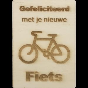 MemoryGift: Houten Kaart A6: Gefeliciteerd met je nieuwe fiets (Fiets)