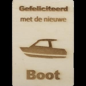 CutterTeam: Houten Kaart A6: Gefeliciteerd met de nieuwe boot (Boot)