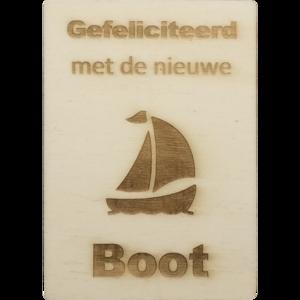 MemoryGift: Houten Kaart A6: Gefeliciteerd met de nieuwe boot (zeilboot)