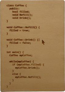 MemoryGift: Houten Kaart A6: Class Coffee Code Loop Joke (Cursor)