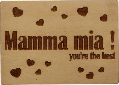 MemoryGift: Houten Kaart A6: Mama mia! You're the best (hartjes)