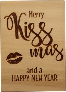 MemoryGift: Houten Kaart A6: Merry Kiss-mas and a Happy New Year (Kus)